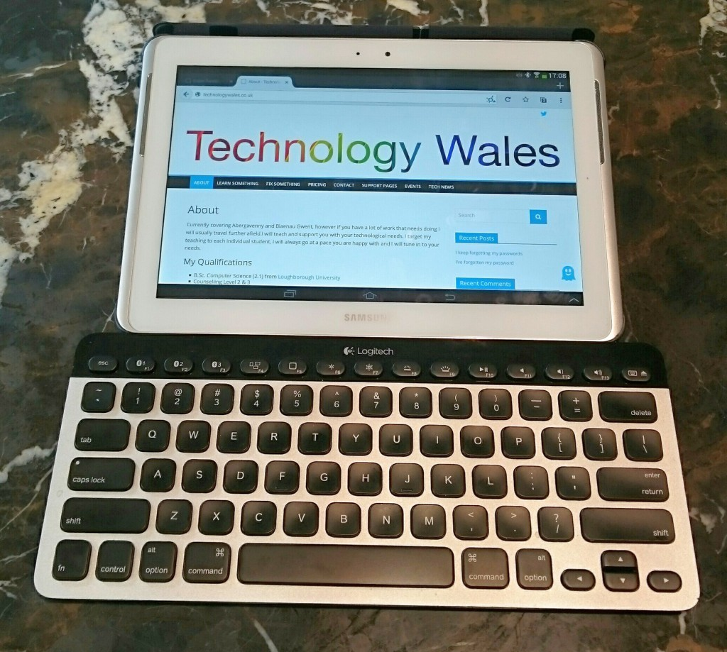 Bluetooth Keyboard and Samsung Tablet
