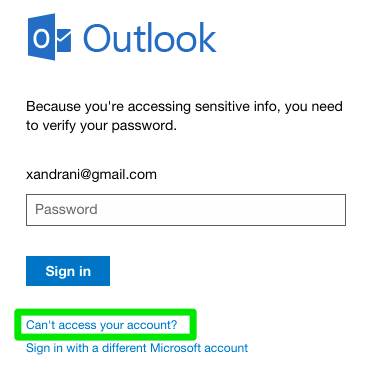 Outlook Login (Forgotten Password)