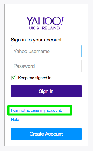 Yahoo Login (Forgotten Password)