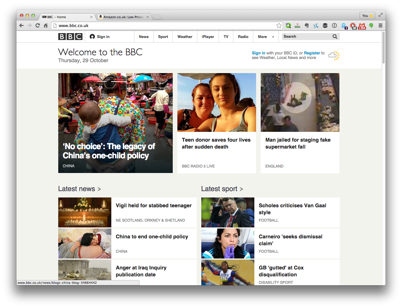 BBC Website Homepage