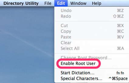 9. Edit -> Enable Root User
