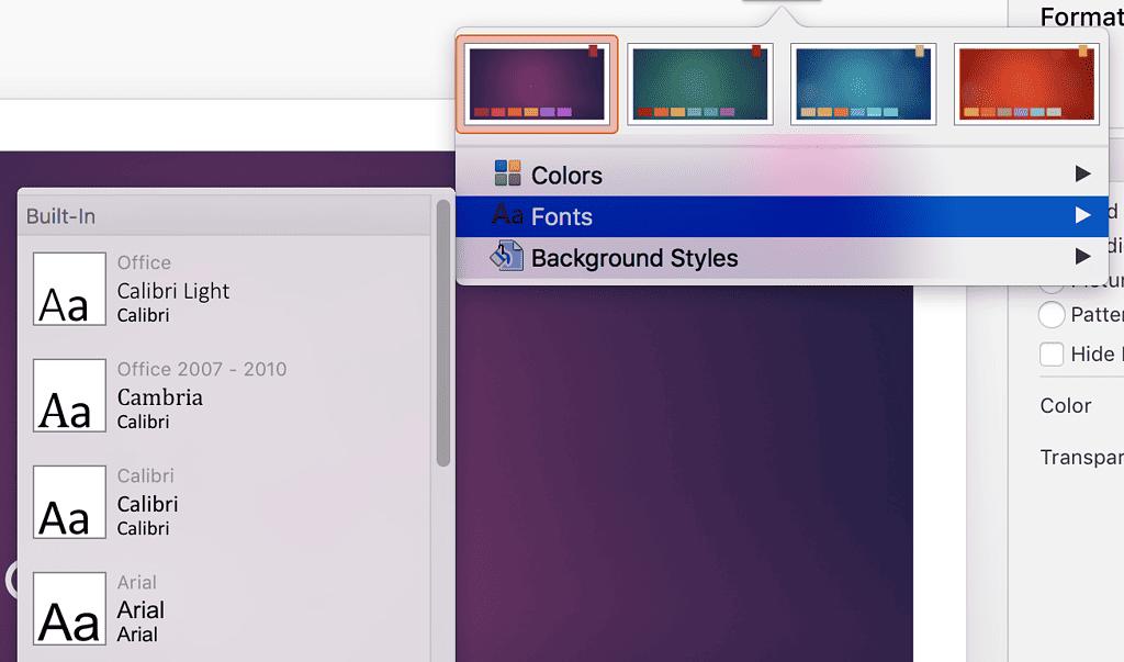 Font Style Menu